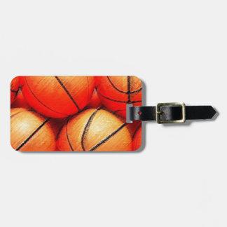 Etiquetas del bolso del viaje del baloncesto