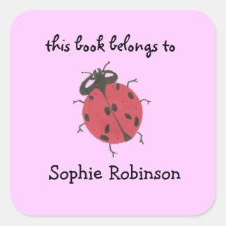 Etiquetas del bookplate de la mariquita pegatina cuadrada