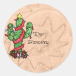 Etiquetas del cactus de navidad pegatina redonda