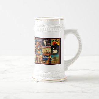Etiquetas del cajón de la fruta del vintage jarra de cerveza