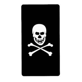 Etiquetas del cráneo y del vino de la bandera pira etiquetas de envío