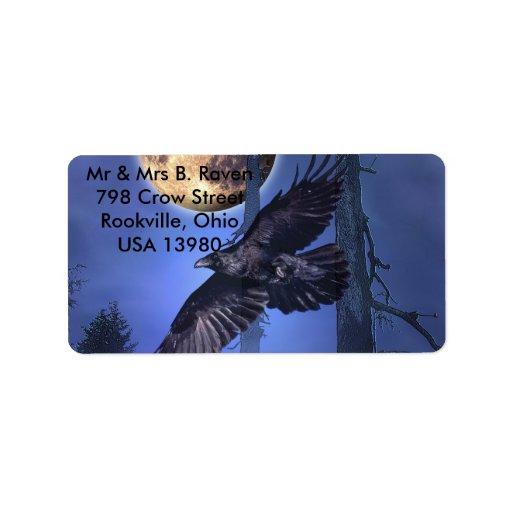 Etiquetas del cuervo y de la luna etiquetas de dirección