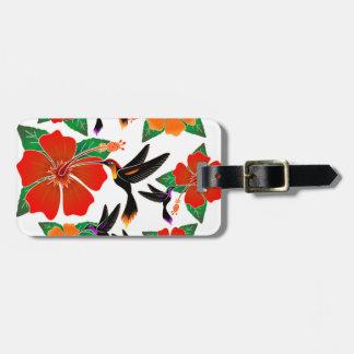 Etiquetas del equipaje del batik del colibrí y del etiquetas para equipaje