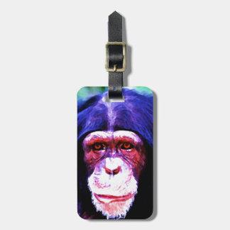 Etiquetas del equipaje del chimpancé etiquetas maleta
