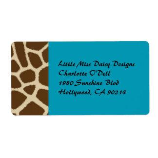 Etiquetas del estampado de girafa etiqueta de envío