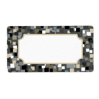 Etiquetas del estilo del mosaico del carbón de leñ etiqueta de envío