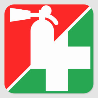 Etiquetas del extintor/de los primeros auxilios pegatina cuadradas