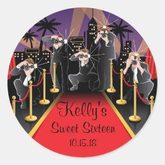 Etiquetas del favor de fiesta del dulce 16 de pegatina redonda
