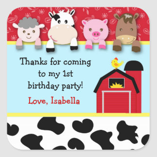 Etiquetas del favor de la fiesta de cumpleaños de calcomania cuadradas personalizadas