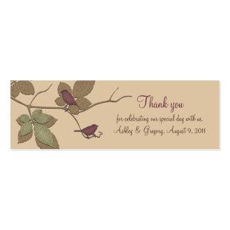 Etiquetas del favor del boda de la caída de los tarjetas de visita mini