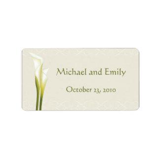 Etiquetas del favor del boda de la cala etiqueta de dirección