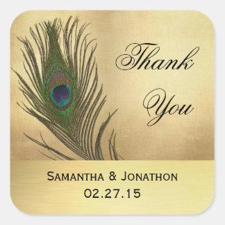 Etiquetas del favor del boda de la pluma del pavo pegatina cuadrada
