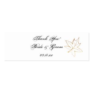 Etiquetas del favor del boda del borde de la hoja  tarjetas de visita mini