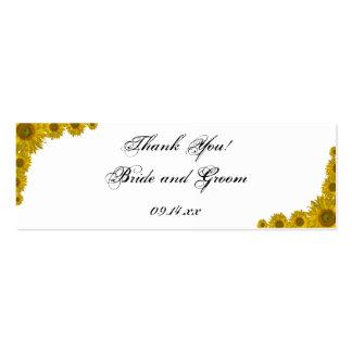 Etiquetas del favor del boda del borde del girasol tarjetas de visita mini