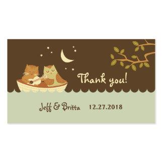 Etiquetas del favor del boda del búho y del minino tarjetas de visita