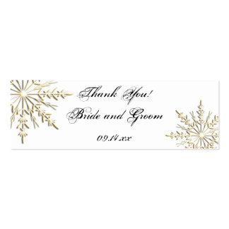 Etiquetas del favor del boda del copo de nieve del tarjeta de visita