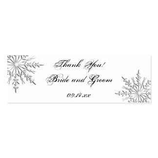 Etiquetas del favor del boda del copo de nieve tarjeta de negocio