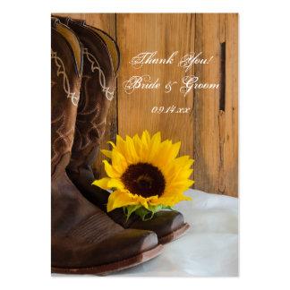 Etiquetas del favor del boda del girasol del país tarjetas de visita grandes