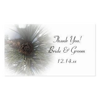Etiquetas del favor del boda del invierno de los p tarjeta de negocio