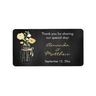 Etiquetas del favor del boda del tarro de albañil etiqueta de dirección