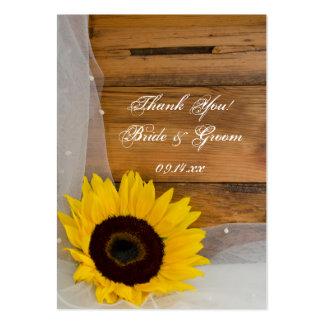 Etiquetas del favor del girasol y del boda del paí tarjetas de visita grandes