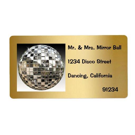 Etiquetas del fiesta de disco de la bola de espejo etiqueta de envío