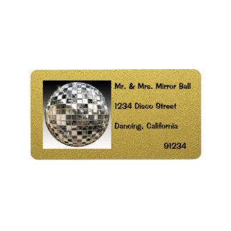 Etiquetas del fiesta de disco de la bola de espejo etiqueta de dirección