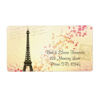 Etiquetas del francés de la torre Eiffel Etiquetas De Envío