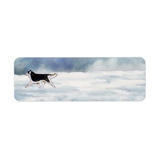 Etiquetas del invierno del husky siberiano etiqueta de remite