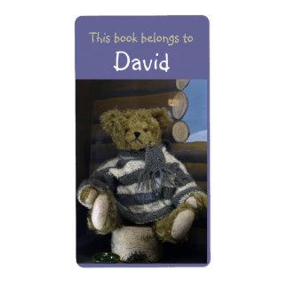 Etiquetas del libro con el oso de peluche etiquetas de envío