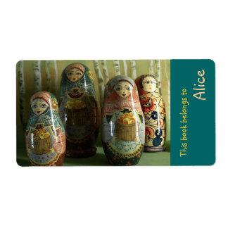 Etiquetas del libro con el ruso Matrioshka Etiquetas De Envío