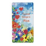 Etiquetas del libro con las flores lindas etiqueta de envío