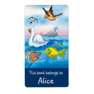 Etiquetas del libro con los animales lindos etiqueta de envío