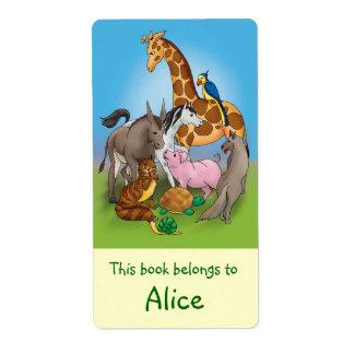 Etiquetas del libro con los animales lindos etiquetas de envío
