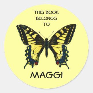 Etiquetas del libro de la mariposa pegatinas redondas