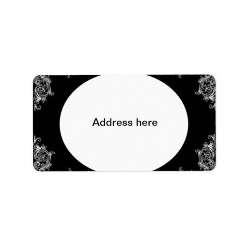 etiquetas del marco del negro del vintage de la etiqueta de dirección