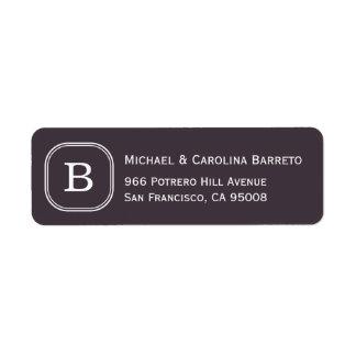 Etiquetas del monograma del carbón de leña etiqueta de remitente
