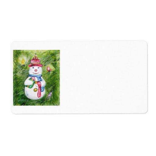 Etiquetas del muñeco de nieve del árbol de navidad etiquetas de envío