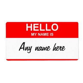 etiquetas del nametag, cualquier nombre aquí etiqueta de envío