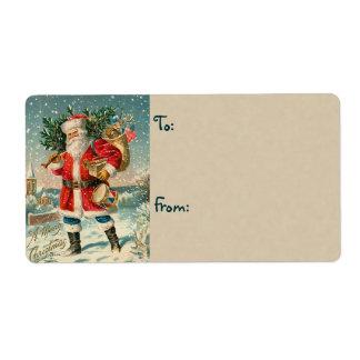 Etiquetas del navidad de Santa del vintage Etiqueta De Envío