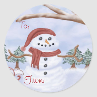 Etiquetas del navidad del muñeco de nieve del invi