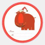 Etiquetas del navidad: Hipopótamo Pegatina Redonda