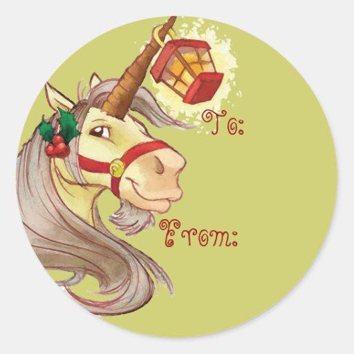 Etiquetas del nombre del unicornio del navidad etiqueta redonda