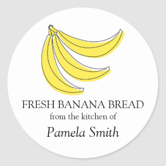 Etiquetas del pan de plátano, de la cocina de… etiquetas redondas