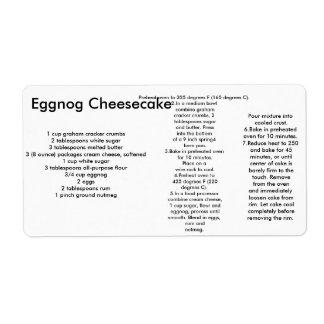 etiquetas del pastel de queso de la yema etiqueta de envío