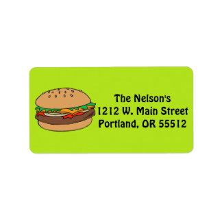 Etiquetas del personalizado de la hamburguesa etiquetas de dirección