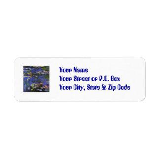 Etiquetas del personalizado de Monet Waterlilies Etiqueta De Remitente