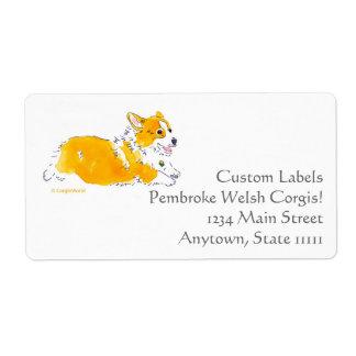 Etiquetas del personalizado del Corgi del vuelo Etiqueta De Envío