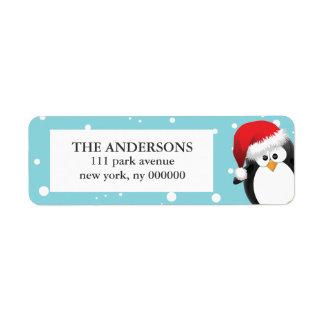 Etiquetas del pingüino del navidad etiquetas de remite