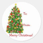 Etiquetas del presente del árbol de navidad pegatina redonda